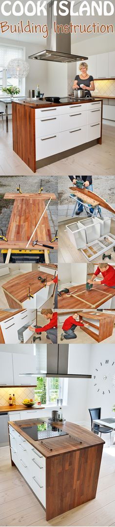 A cooking island is brilliant: you instantly have more space in your kitchen for cutting and preparing food and a lot more storage for pots and pans. You can build it by yourself. Our DIY shows you how to build a cook island.