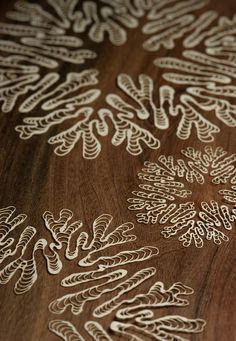 Laser cut paper sketch of sea creature forms by Jessica Rosenkrantz
