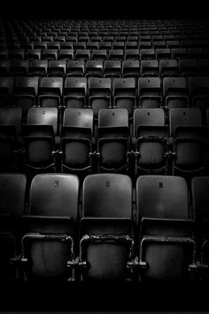 ☾ Midnight Dreams ☽ dreamy dramatic black and white photography - old theater seats #BlackChair