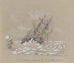 Owen Stanley (1811-1850). H.M.S. Terror, nipped by the ice, in Fox's channel. Christie's.
