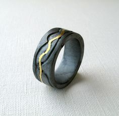 Gold Channel Ring for MEN by monteazul on Etsy, €135.00