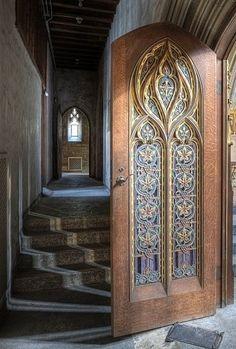 beautiful door in abandoned mansion