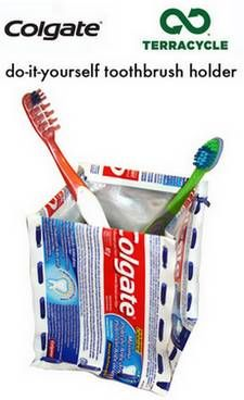 Recycle toothpaste tubes and make a square toothbrush holder in this recycling project from Colgate and TerraCycle.