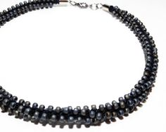 Black Silver Choker Necklace Jewelry Gothic Kumihimo Fiber & Beads