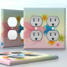 DIY Do It Yourself Home Decor - Easy to apply wall plate wraps | The Magic of July  Cute little flowers  wallplate skin sticker for 2 Gang Wall Socket Duplex Receptacle | On SALE now only $4.95