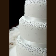 .White Wedding Cake with silver dragees