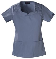 """Baby Phat Square Neck Top in Graphite A shaped square neck top features a decorative quilted stitch with silver nail heads at the shoulders. Patch pockets, side vents and center back elastic finish this top. Center back length 25 1/2"""".  Fabric: Brushed Cotton/Poly Poplin $26.99 #scrubs #nurses #doctors #medicaloutlet #babyphat Baby Phat Scrubs, Medical Uniforms, Square Neck Top, Medical Scrubs, Scrub Tops, Poplin, Top Colour, Silver Nail, V Neck"""