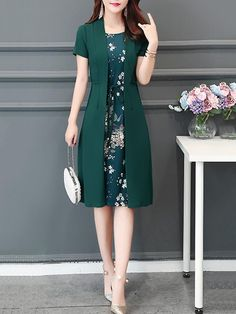 Casual Floral Printed Crew Neck Plus Size Chiffon Dress - #Casual #Chiffon #Crew #Dress #floral #Neck #Printed #Size
