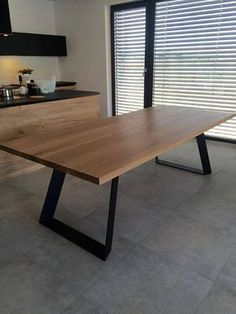 Solid oak dining table extended by Poppyworkspl - tisch COLT. Solid oak dining table extended by Poppyworkspl Solid Oak Dining Table, Steel Dining Table, Wood Table, Dining Room Table, Wooden Dining Tables, Wood Furniture, Furniture Design, Handmade Furniture, Industrial Furniture