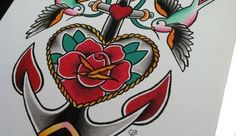 Traditional Flash: Rose Anchor with Sparrows - 8.5 x 11 Watercolor Print - WorkLAD - Banter, Funny Pics, Viral Videos