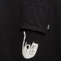 Black Plain Middle Finger Cat Fell Out Of The Pocket Cute T-Shirt
