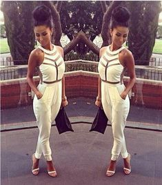 Women New fashion White black Jumpsuits 2014 summer Sexy transparent ladies club bodysuits Onesie Overalls Female Rompers S M L $27.90