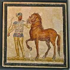 Mosaic depicting a charioteer of the Circus Maximus in Rome. From Baccano, 3rd century AD. National Roman Museum in Palazzo Massimo alle Terme.