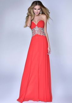 Chiffon Sweetheart Floor Length A line Sleeveless Dropped Waist Dresses For Prom - 1300304248B - US$249.99 - BellasDress