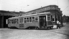 Trolley at 20th Street and McDonald in front of trolley barn