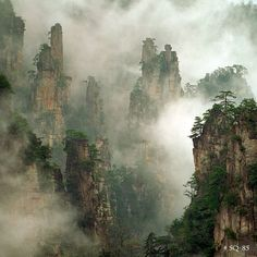Zhangjiajie National Forest in China, as photographed by King Wu. Beautiful Photos Of Nature, Nature Photos, Beautiful Pictures, Amazing Nature, Asian Landscape, Fantasy Landscape, Landscape Rocks, Landscape Borders, Landscape Artwork