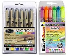 $24 for both. Accu-Gel Bible Highlighters (Pack of 6) Plus Pigma Micron..Bible. In this set you receive Pigma Micron Bible Study Kit, a set of 6 - Five PIGMA Micron 05 Underliners and One 01 Note Pen (Black) with Bible Marking Guide. No Bleed, No Smearing and Fade-Proof. Smooth, Skip-Free Lines and Crisp, Consistent Lettering Every Time. -- Plus the top selling GTL 6 pack Bible study highlighter set