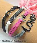 Womens Bracelet Infinity Love Anchor WTAW Black White Pink Grey Velvet  K853