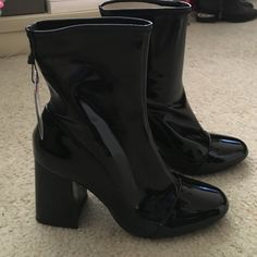 Brand new Zara pvc sock boots Block heel fashion forward Zara pvc heeled sock boot. Brand new still in box with tags. True size 10. Pull on style fits like a sock boot design. Straight off the runway look. Pvc fabric Zara Shoes Heeled Boots