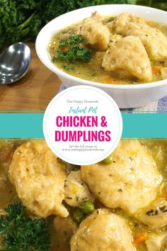 A super easy and delicious Chicken & Dumplings recipe that's made in the Instant Pot. Fast prep and only a 5-minute cook time with a 30-minute NPR. Perfect for busy weeknights! From Valerie @ One Happy Housewife - onehappyhousewife.com #instantpotsoup #instantpotchicken #instantpot #instantpotrecipe #chickenanddumplings #onehappyhousewife