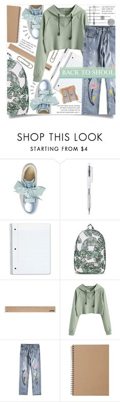 """BACK TO SCHOOL"" by celine-diaz-1 ❤ liked on Polyvore featuring Puma, Herschel, Artek, Muji and Old Navy"