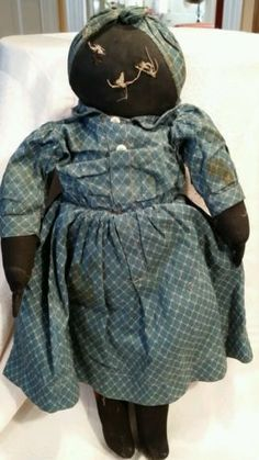 Early Antique Black Rag Cloth Doll With Original Clothes
