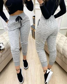 Casual Sporty Outfits, Swag Outfits For Girls, Teen Fashion Outfits, Fashion Pants, Stylish Outfits, Cute Outfits, Casual Pants, Trend Fashion, Women's Fashion