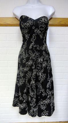 White House Black Market Floral Embroidered Cocktail Sundress Dress 0 XS Small #WhiteHouseBlackMarket #EmpireWaist #Cocktail