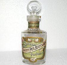 c1900 Rare Zenobia Sweet Pea Blossom Old Vintage Antique Perfume Bottle