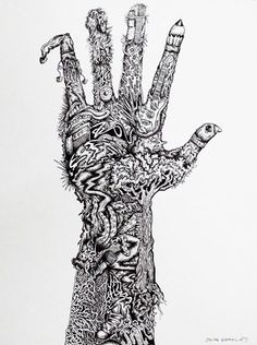Surreal Pen and Ink Hand Drawing - Conway High School Art Project