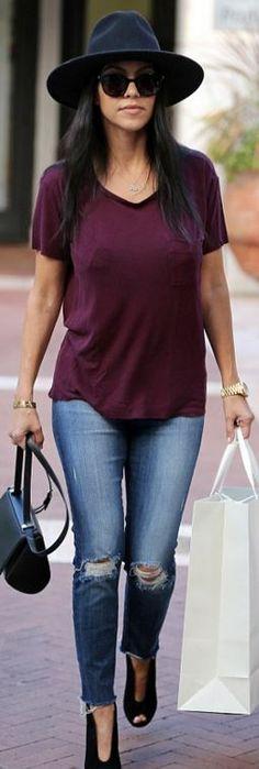 Kourtney Kardashian: Hat – Rag & Bone Bracelet – Cartier shoes – Gianvito Rossi Purse – Givenchy Watch – Rolex