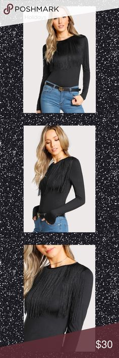 """BLACK FRINGE DETAIL SOLID T-SHIRT SZ S Black Fringe Detail Long Sleeve T-shirt SIze S Material: 90% Polyester 10% Spandex Round Neck Stretch Fabric  Slim Fit Shoulder: 14"""" Bust: 30.3"""" Sleeve Length: 23.6"""" Length: 20.7"""" Cuff: 6.7"""" Tops Tees - Long Sleeve"""