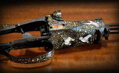 Fox Shotgun Multi color gold and enamels by Dassa Engravings Italy Shotguns, Firearms, Gun Art, Hunting Rifles, Hand Engraving, Walnut Wood, Louis Vuitton Speedy Bag, Metallica, Metal Working