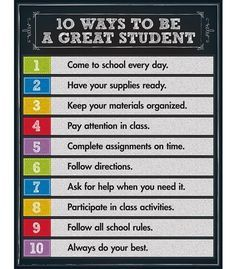 Reinforce good student character traits with this 10 Ways to be a Great Student Chart. The eye-catching, colorful chalkboard design is sure to encourage your learners to be the best students they can Entrepreneur Quotes Classroom Rules, Classroom Posters, Future Classroom, School Classroom, Classroom Ideas, Classroom Expectations, Classroom Behavior, Beginning Of The School Year, First Day Of School