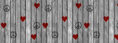 Cute Peace And Hearts On Wood Facebook Cover
