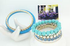 Korea Style Women Bracelets Alloy Blue Resin Bead Multilayer Bangle Bracelet for Girls Charm Jewelry