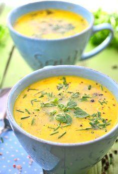 Zupa serowa ze szczypiorkiem i bazylią - MniamMniam.pl Best Soup Recipes, Keto Recipes, Healthy Recipes, B Food, Food Porn, Proper Tasty, Vegan Gains, Indian Food Recipes, Ethnic Recipes