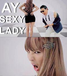 Heyyy, sexy lady... WHY SO SERIOUS?!   -------------------  G-Dragon & Psy  LOL AHAHAHAHAHAHAHA #YG #GD #gangnamstyle #crayon #bigbang