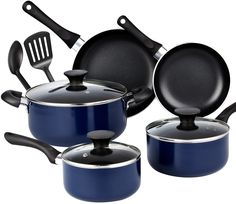 Cook N Home 10 Piece Non Stick Black Soft Handle Cookware Set