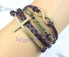 Infinite faith cross bracelet, wax rope leather bracelet, god bless friendship gift $3.99