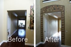 """The customer wanted to create a visual impact for that first impression upon opening her front door.  Marcelino Custom Finishes developed this unique 'Trompe L'Oeil"""" (shading) art work and applied a soft faux finish to the wall to complete the look.  The visual impact and statement were made using paints only."""