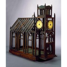 Birdcage In The Form Of A Church, mid-19th century. mid-19th century. Mahogany, cherry, pine, stain, brass, wire
