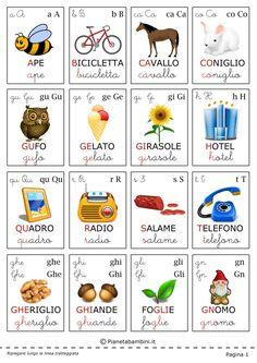 Carte Tematiche per Bambini: le Lettere dell'Alfabeto | PianetaBambini.it Alphabet Cards, Alphabet Print, Alphabet For Kids, Free Preschool, Preschool Learning, Italian Alphabet, Montessori, How To Speak Italian, Italian Vocabulary