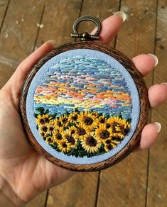beautiful sunset and sunflower embroidery