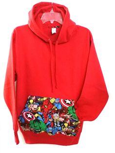 Super Hero Marvel Comic Patched Unisex Pullover Hoodie Sweatshirt Red Hoodie