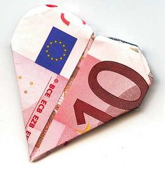 Ihre Geldschein Herz falten