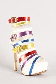 Alice-1 Multicolor Strappy Open Toe Platform Heel