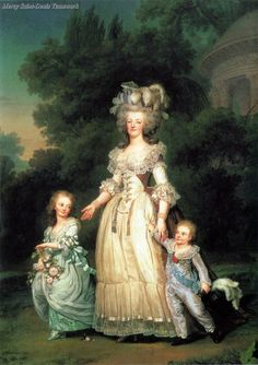 Queen Marie Antoinette of France and two of her Children walking in the Park of Trianon - Adolf Ulrik Wertmüller, 1785.
