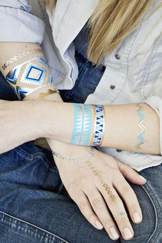 I love the bright blues and metallic contrast in these temporary tatoos