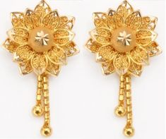 Name: fashion gold earrings designs for girl kids. Kids Gold Jewellery, Real Gold Jewelry, Gold Jewelry Simple, Golden Jewelry, Gold Jewellery Design, Gems Jewelry, Bridal Jewelry, Jewellery Shops, Stone Jewelry